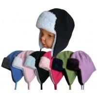 Zimní dětská čepice ušanka, dvojbarevná