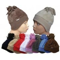 Dětská zimní čepice se střapcem a ochranou uší
