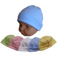 Kojenecká bavlněná čepice, jednobarevná